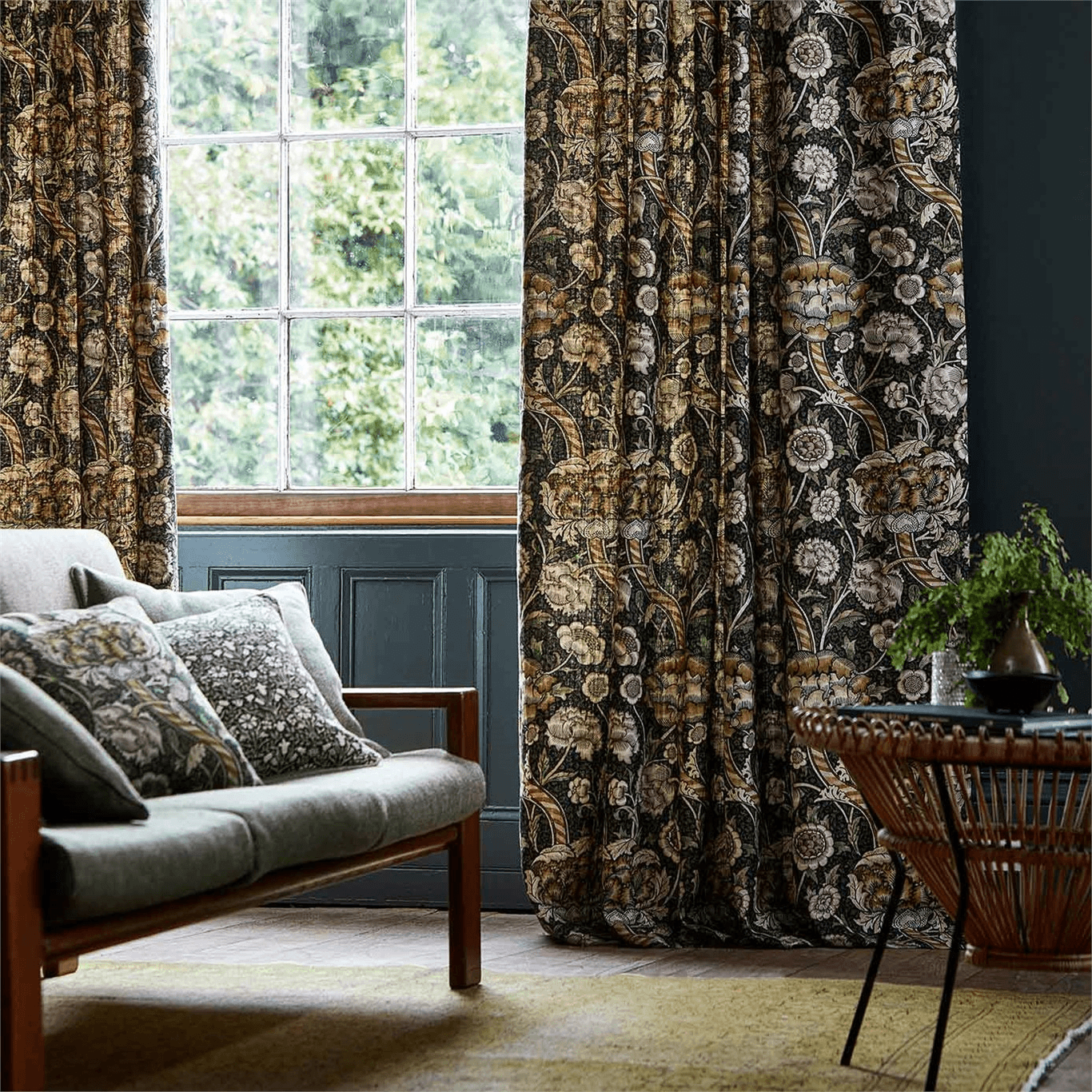 Wandle Fabric Charcoal Mustard By Morris And Co 226397