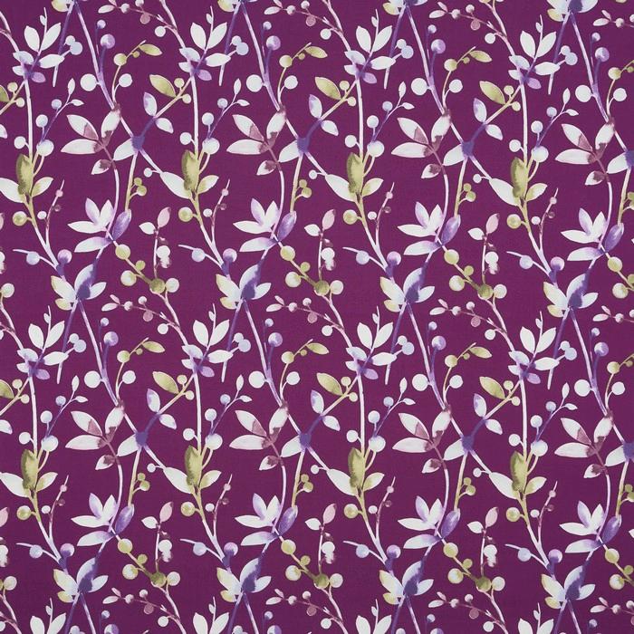 Prestigious Trebah Passion Fruit Aubergine & Emerald Fabric