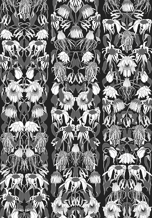 Studio Job Withered Flowers - Black Wallpaper