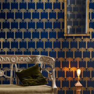 Barneby Gates Marrakech Palm - Midnight Blue Wallpaper