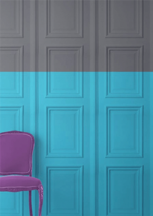 Young and Battaglia Grey & Turquoise Panelling Wallpaper
