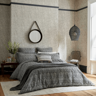 William Morris Crown Imperial in Charcoal Bedding