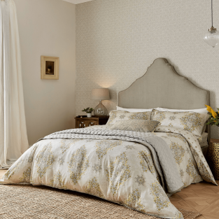 Sanderson Siam Diamond in Sumac & Grey Bedding
