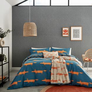 Scion Mr Fox Brushed Cotton in Denim & Orange Bedding